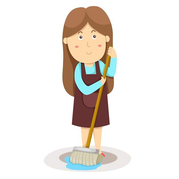Illustration of cleaner and mop