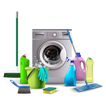 Illustration of cleaning products, kitchen and bathroom equipment for washing, toilet, broom, bucket with water and sponge, washing machine with brooms..