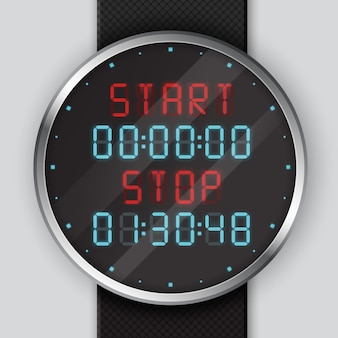 Illustration close up of digital wrist watch