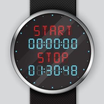 イラストはデジタル腕時計のクローズアップ