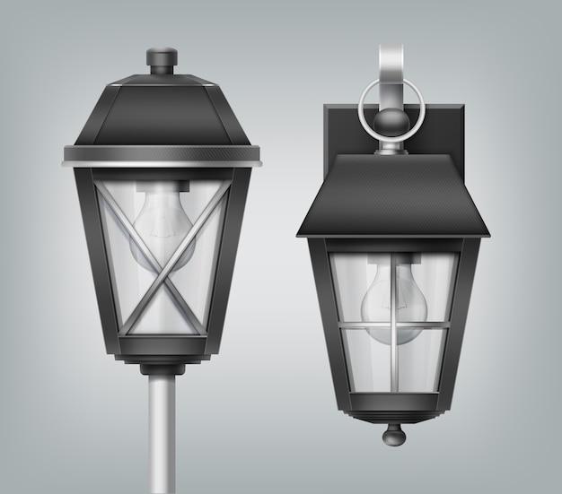 Illustration of close up vintage lantern on pole