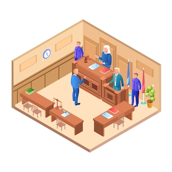 Illustration of closed court session on case man flat.