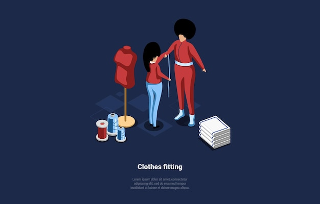 Illustration of clothes fitting concept. isometric composition in cartoon 3d style.