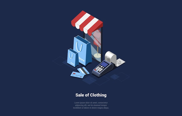 Illustration of clothing sale concept. isometric composition in cartoon 3d style.