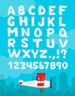 Illustration of cloud alphabet isolated on a blue sky and city landscape . cloudy font  decoration number typeface. weather text heaven and flat airplane