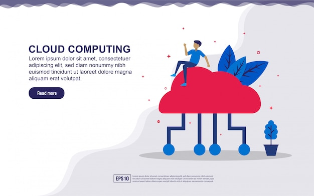 Illustration of cloud computing & internet of thing  with people. illustration for landing page, social media content, advertising.