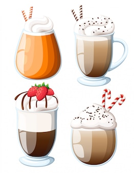 Illustration of cocktail irish coffee mug of hot latte drink with creamy foam, cocktail of layered cappuccino coffee with liquor, logo with brown title irish coffee, glass cup of espresso