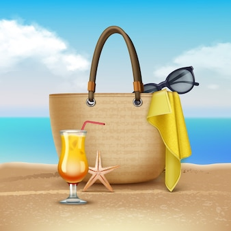 Illustration of cocktail and women's handbag on the beach.  on landscape background.