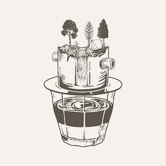 그림 커피 숲 프리미엄 벡터