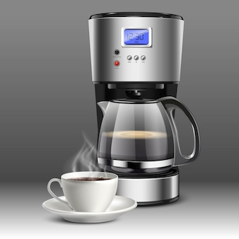 Illustration of a coffee machine with white coffee cup on a gray background.
