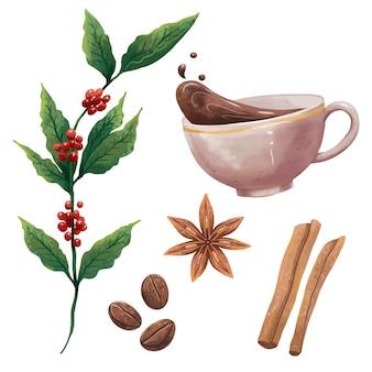 Illustration of coffee, plant with berries, coffee mug, splashes, coffee beans, cinnamon sticks, cardamom stars