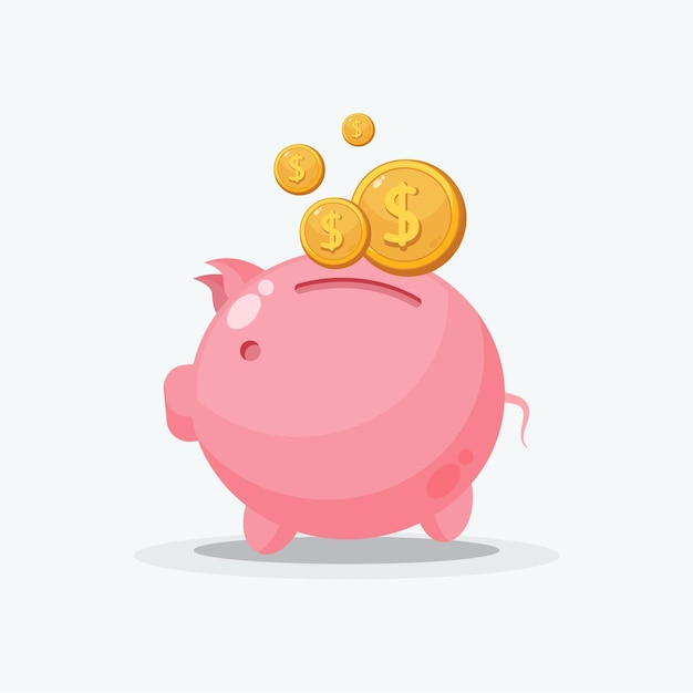Illustration of collecting coins in a piggy bank