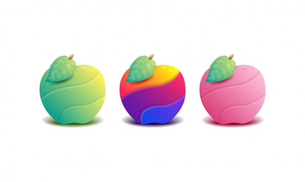 Illustration collection of colorful apple fruit logo template.