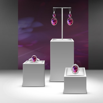 Illustration of collection jewelry with red gems in display