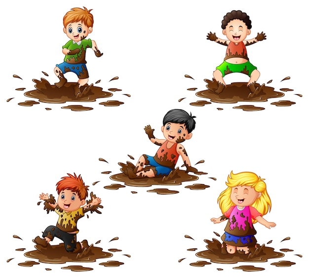 Illustration of collection of kids playing in the mud