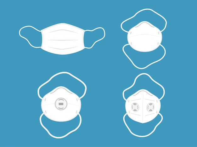 Illustration of collection medical mask or protective mask