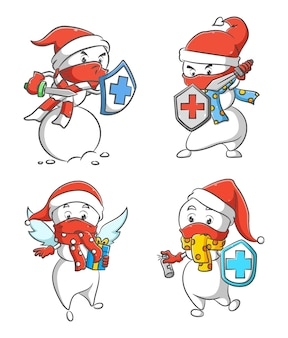 The illustration of the collection of the mr. snowman holding the healthy shield to protect the body from the virus