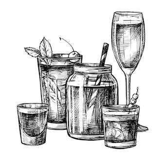 Иллюстрация - коллекция алкогольных и безалкогольных коктейлей.