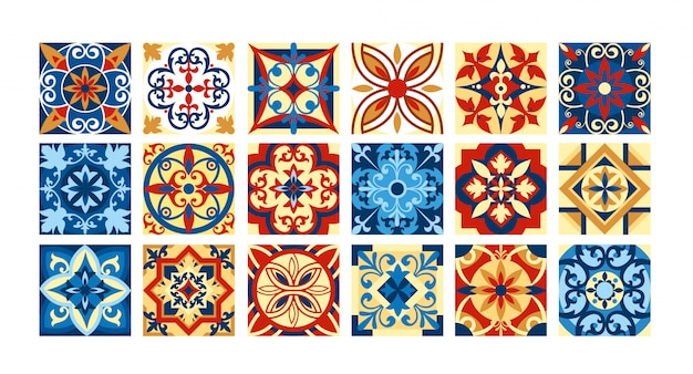 イラストレトロな色のセラミックタイルのコレクション。エスニックスタイルの正方形のパターンのセット。図。