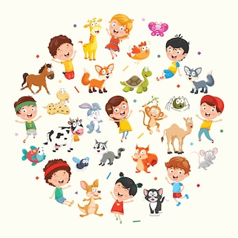 Illustration Collection of Kids and Animals