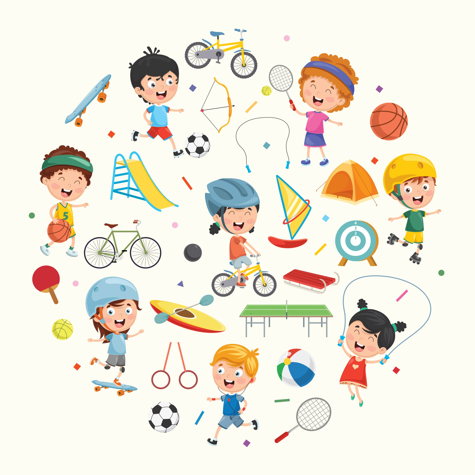 Illustration Collection of Kids and Sport Equipments