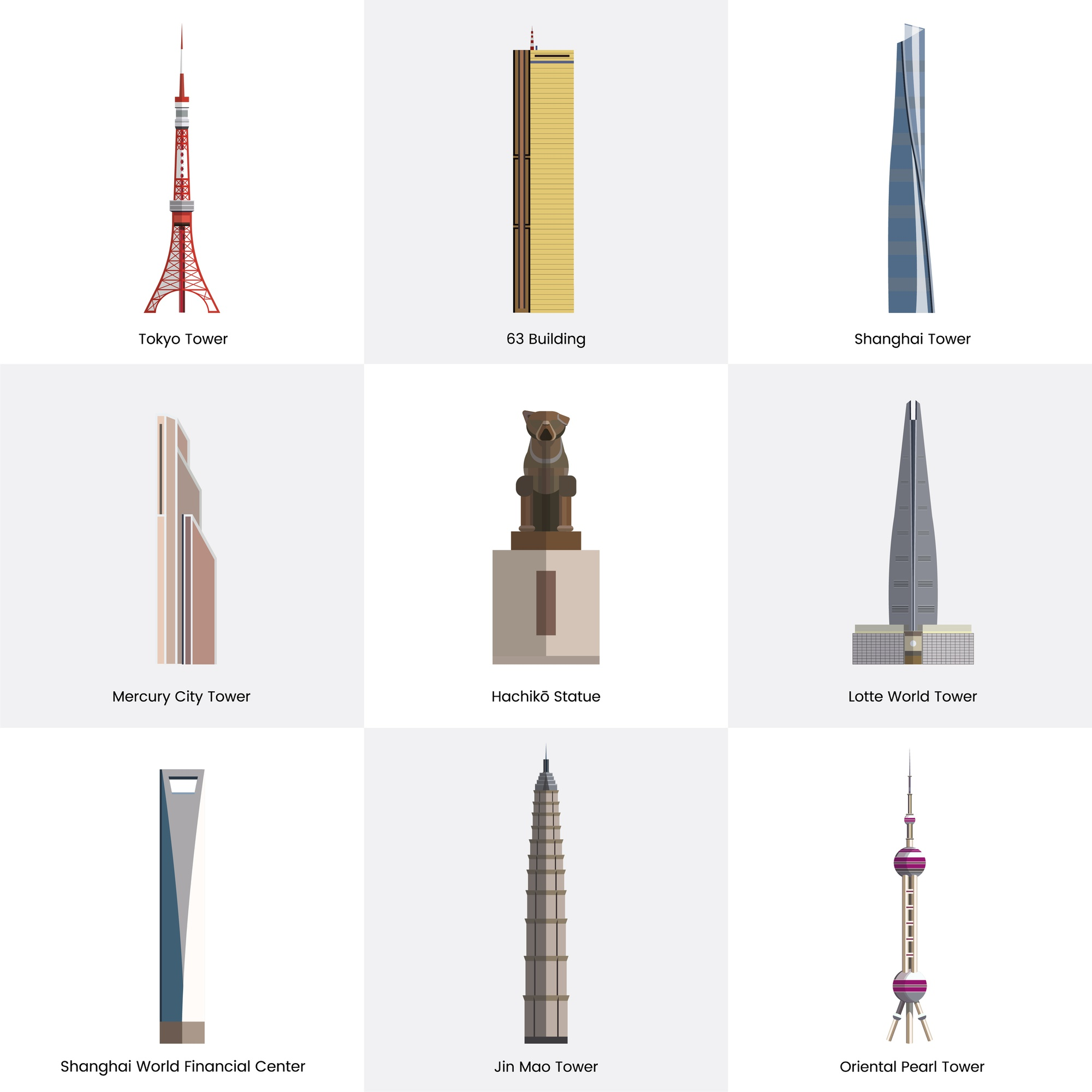 Illustration collection of tourist famous landmarks