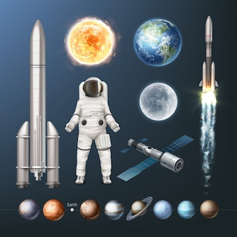 Illustration of collection planets of solar system space suit spacecraft and sun earth