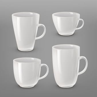 Illustration of collection of various white cups and mugs for coffee or tea isolated