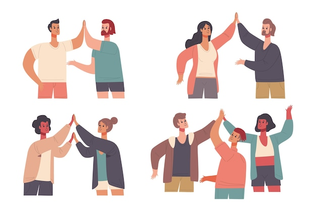 Illustration collection with people giving high five