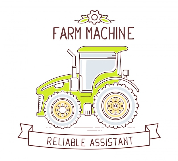 Illustration of color gray and green  farm machine and ribbon with text on white background.