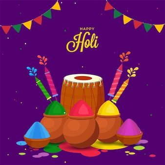 Illustration of color powder in clay pots with dhol instrument and water guns