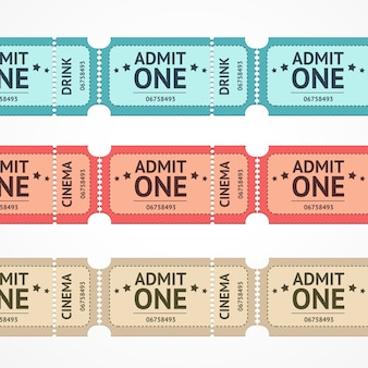 Illustration color ticket set line isolated on a white background.