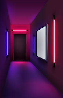 Illustration of colored neon tubes and lightbox in interior