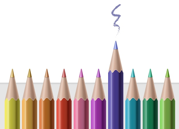 Illustration of colored pencils in row on paper with drawn line isolated on white background