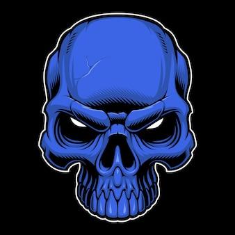 Illustration of colored  skull on dark backround.