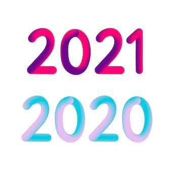 Illustration: colorful 3d number of 2021 on white background. happy new year.
