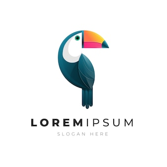 Illustration of colorful abstract toucan bird gradient logo