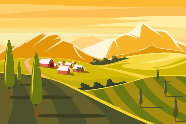 Illustration of colorful countryside landscape