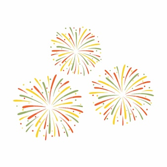 Illustration of colorful fireworks isolated on white background.