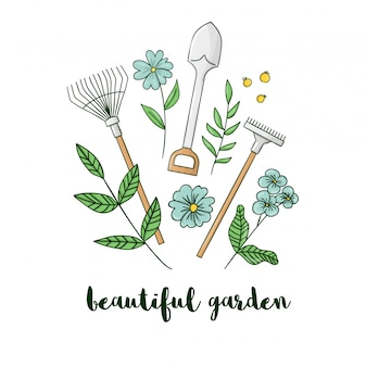 Illustration of colorful garden equipment with flowers. shovel, rakes, spade icon. cartoon style spring or summer picture isolated on white background. gardening themed concept.