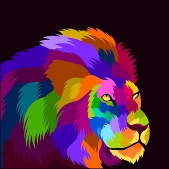 팝 아트 스타일의 그림 다채로운 사자 머리