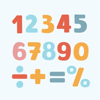 Illustration of colorful numbers set signs