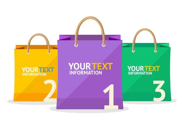 그림 다채로운 종이 가방 판매 옵션 배너 흰색 배경에 고립.