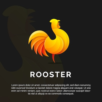 Illustration of colorful rooster logo template