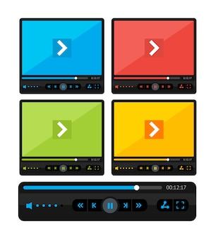 Illustration  colorful video player skin set isolated on a white background.