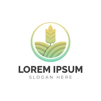 Illustration of colorful wheat farm logo, icon, sticker design template