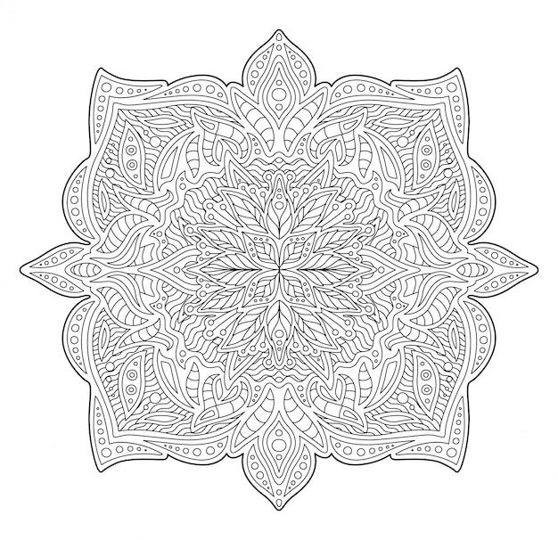 Illustration for coloring book with linear pattern