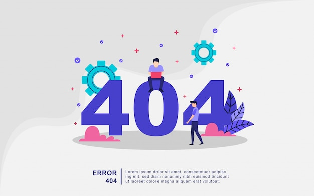 Illustration concept of 404 error page not found system updates