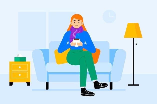 Иллюстрация концепции человека с простудой