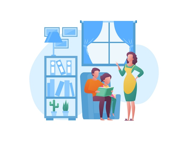 Концепция иллюстрации о проведении отпуска с семьей дома